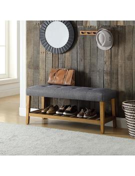 Charla Gray And Oak Storage Bench by Acme Furniture