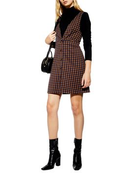 Check Button Front Pinafore Dress by Topshop