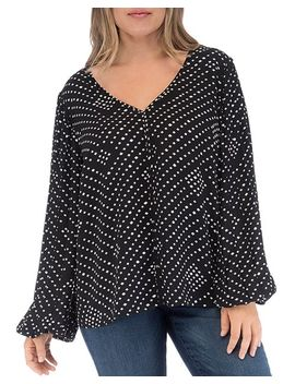 Kennie Diamond Print Blouse by B Collection By Bobeau Curvy