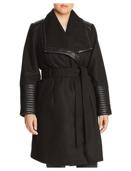 Faux Leather Trim Belted Coat by Bagatelle Plus