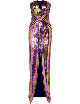 Strapless Sequined Crepe Gown by Rasario