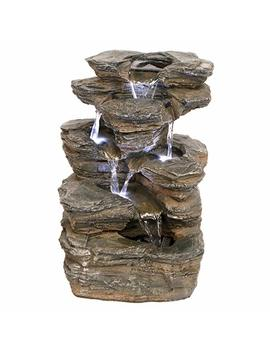 Water Fountain With Led Light   Devil's Thumb Falls Garden Decor Rock Fountain   Outdoor Water Feature by Design Toscano