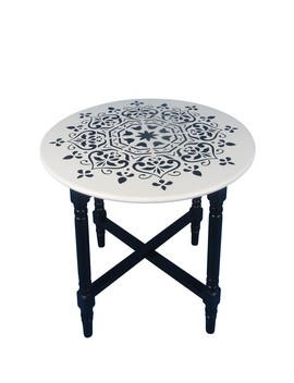 Black Cross Base Accent Table by Sagebrook Home