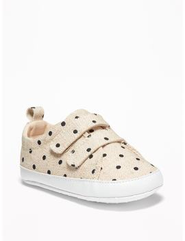 Linen Blend Polka Dot Secure Strap Sneakers by Old Navy