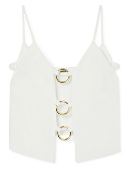 Odette Cutout Embellished Linen Top by Cult Gaia