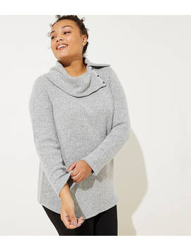 Loft Plus Button Cowl Neck Tunic by Loft