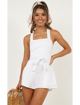 Kings Court Playsuit In White Linen Look by Showpo Fashion