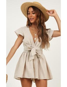 Top It Off Playsuit In Beige Stripe by Showpo Fashion