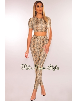 Nude Snake Print Crop Top High Waist Two Piece Set by Hot Miami Style