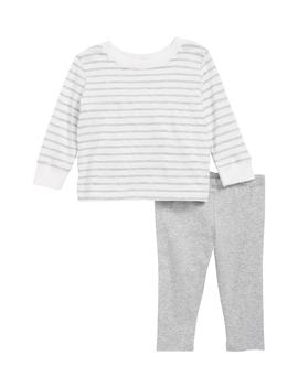 Stripe Ruffle Back Top & Leggings Set by Splendid