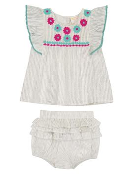 Metallic Stripe Ruffle Top & Bloomers Set by Masala Baby