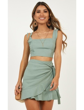 Royal Power Two Piece Set In Sage Linen Look by Showpo Fashion