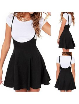 Fashion Trendy Girl Waist Suspender Women Skirt Black Skater High Waist Pleated Dress by Emmababy
