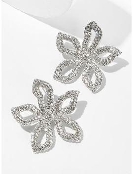 Rhinestone Flower Shaped Stud Earrings 1pair by Sheinside