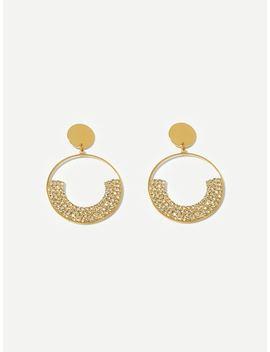 Rhinestone Decor Hoop Drop Earrings by Sheinside