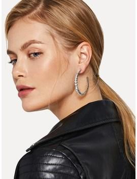 Rhinestone Engraved Cut Hoop Earrings by Sheinside