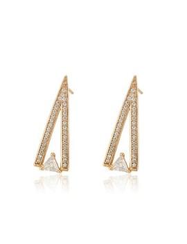 Rhinestone Engraved Triangle Stud Earrings by Sheinside