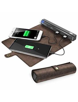 Usb Charging Station Portable, Beare 4 Ports Usb Charger Hub With Roll Up Leather Organizer For Travel.Compatible With I Phone,I Pad,Andorid And Multiple Usb Charged Devices. With Ac Power On Off Switch by Beare