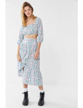 Uo Petunia Ruffle Button Down Midi Skirt by Urban Outfitters