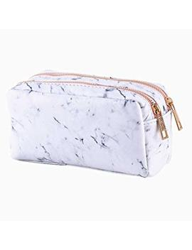 Newest Marble Makeup Bag With 2 Compartments, Portable Pu Cosmetic Pouch Multifunction Toiletry Organizer Travel Makeup Brush Holder Gold Zipper Pen Stationery Storage Case For Women Girls by Dream Light