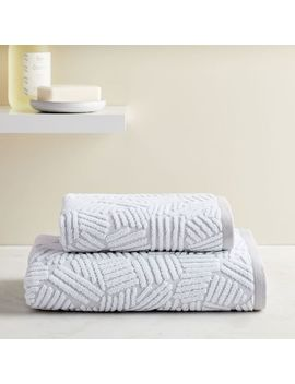 Organic Dashed Lines Sculpted Towels   Gray Sky by West Elm