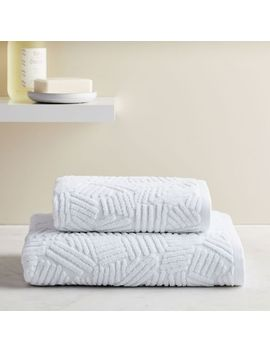 Organic Dashed Lines Sculpted Towels   White by West Elm
