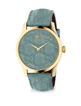 G Timeless Goldtone Case 38 Mm Pastel Blue Leather Strap Watch by Gucci