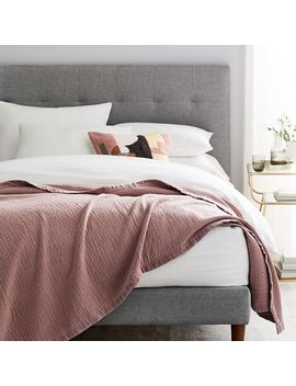 Velvet Trim Textural Blankets by West Elm