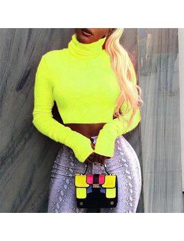 Sexemara Neon Color Turtleneck Crop Top Long Sleeve Shirt Women Sexy Slim Autumn Winter Street Tops Tshirt Streetwear C70 I23 by Sexe Mara