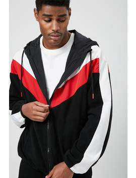 Colorblock Chevron Hooded Jacket by Forever 21