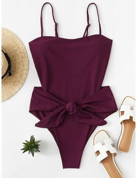 Backless Bow Tie One Piece Swimsuit by Sheinside