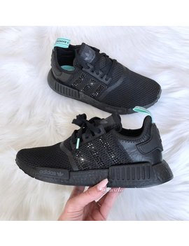 Adidas Nmd R1 Black Customized With Jet Black Swarovski® Xirius Rose Cut Crystals. by Etsy