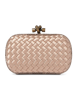 The Mini Knot Watersnake Trimmed Intrecciato Satin Clutch by Bottega Veneta
