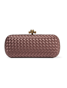 Long Knot Watersnake Trimmed Intrecciato Satin Clutch by Bottega Veneta