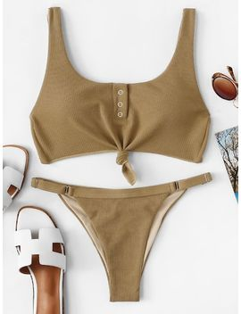 Metal Ring Front Knot Top With Ribbed Bikini Set by Sheinside