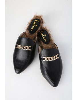 Antonia 2 Black Faux Fur Loafer Slides by Lulus