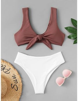 Knot Front Top With Panty Bikini Set by Sheinside