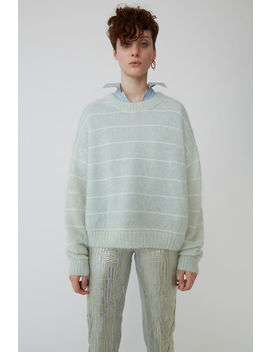 Fuzzy Striped Sweater Pale Green/Ivory by Acne Studios