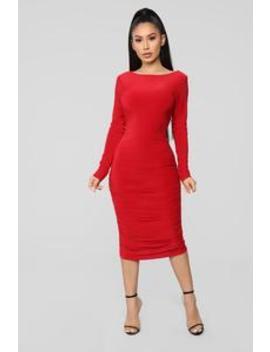 Pure Envy Ruched Midi Dress   Red by Fashion Nova