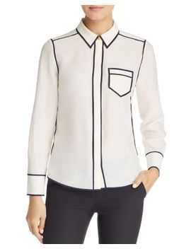 Contrast Trim Silk Shirt by Tory Burch