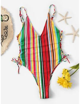 Striped Low Back Tie Side One Piece Swimsuit by Sheinside