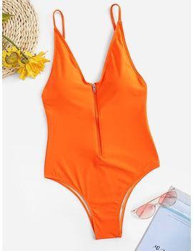Zipper Front Low Back One Piece Swimwear by Sheinside