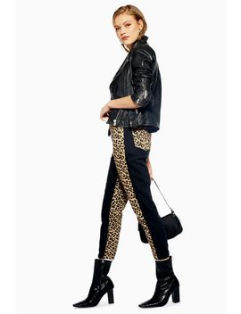 Leopard Panel Mom Jeans by Topshop