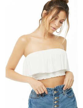 Crepe Cropped Flounce Tube Top by Forever 21