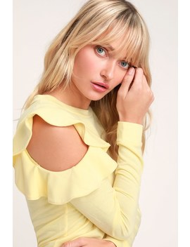Kady Light Yellow Ruffle Cold Shoulder Long Sleeve Sweater Top by Lulus