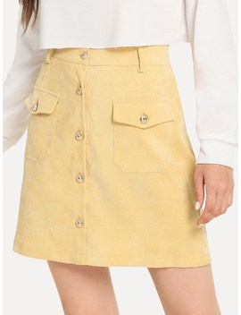 Corduroy Button Front Pocket Detail Skirt by Sheinside