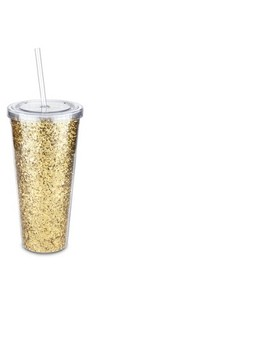 True Glam   Double Walled   Portable Beverage Tumbler   Glitter/Gold by True