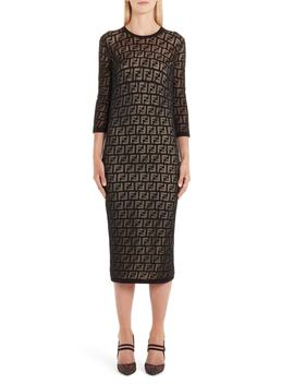 Ff Devoré Knit Dress by Fendi