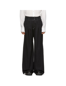 Black Pleated Trousers by Sulvam