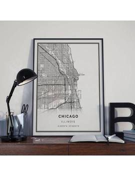 Chicago Map Poster Print Wall Art | Illinois Gift Printable Download | Modern Map Decor For Office, Home And Nursery | Mp3 by Etsy